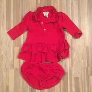 Red Polo Mesh Dress & Bloomers